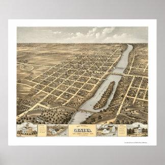 Geneva, IL Panoramic Map - 1869 Print