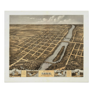 Geneva Illinois 1869 Antique Panoramic Map Posters