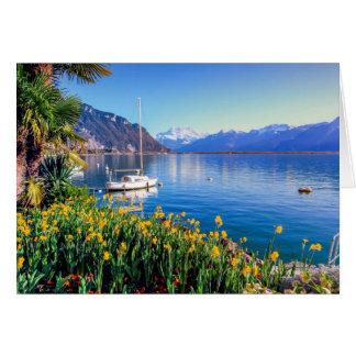 Geneva lake at Montreux, Vaud, Switzerland Card