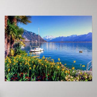 Geneva lake at Montreux, Vaud, Switzerland Poster