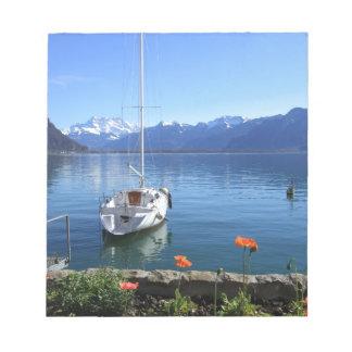 Geneva lake scenery, Montreux, Switzerland Notepad