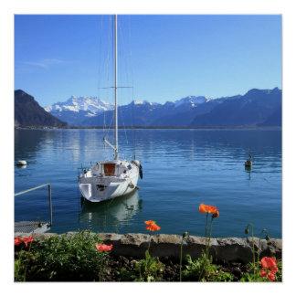 Geneva lake scenery, Montreux, Switzerland Poster