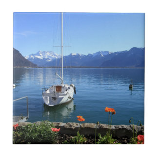 Geneva lake scenery, Montreux, Switzerland Tile
