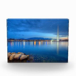 Geneva panorama with famous fountain, Switzerland, Award