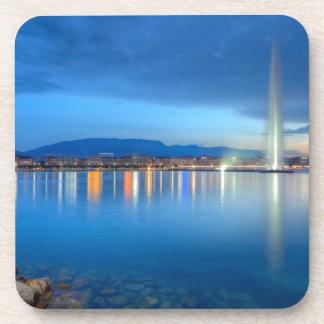 Geneva panorama with famous fountain, Switzerland, Beverage Coaster