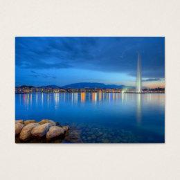 Geneva switzerland business cards templates zazzle geneva panorama with famous fountain switzerland business card colourmoves Image collections
