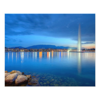 Geneva panorama with famous fountain, Switzerland, Flyer