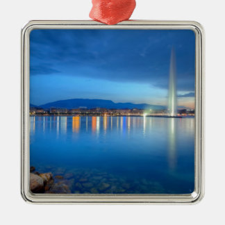 Geneva panorama with famous fountain, Switzerland, Metal Ornament