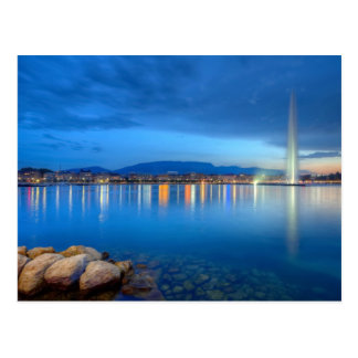 Geneva panorama with famous fountain, Switzerland, Postcard
