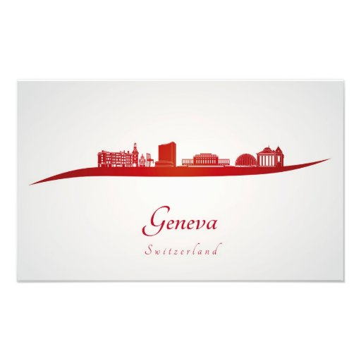 Geneva skyline in red cojinete