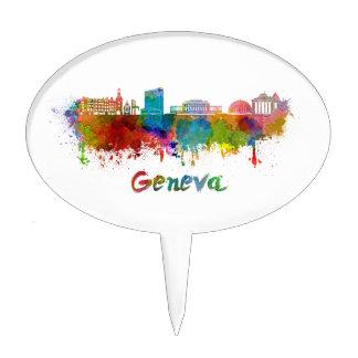 Geneva skyline in watercolor cake topper
