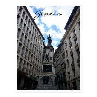 geneva statue postcard