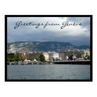 genève lake greetings postcard