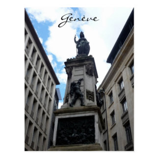 genève statue postcard