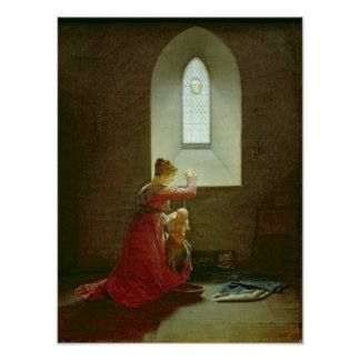 Genevieve of Brabant Baptising her Son in Prison Poster