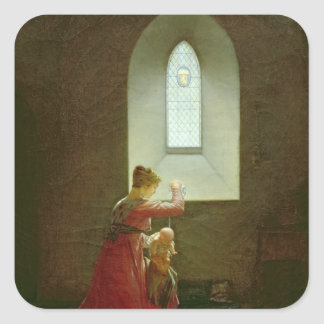 Genevieve of Brabant Baptising her Son in Prison Square Stickers