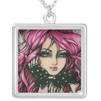 Genevieve Steampunk Pink Fantasy Fairy Art Hannah Square Pendant Necklace
