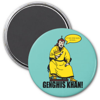 Genghis Khan 3 Inch Round Magnet