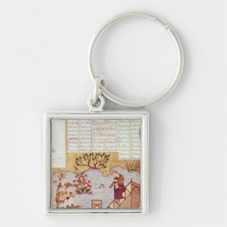 Genghis Khan addressing a congregation Silver-Colored Square Keychain