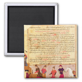 Genghis Khan and his sons by Rashid al-Din 2 Inch Square Magnet