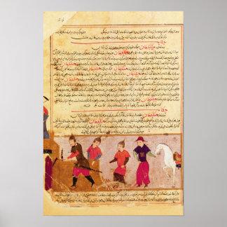 Genghis Khan and his sons by Rashid al-Din Print