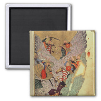 Genghis Khan (c.1162-1227) fighting the Chinese in 2 Inch Square Magnet