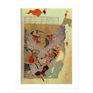 Genghis Khan (c.1162-1227) fighting the Chinese in Postcard