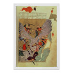 Genghis Khan (c.1162-1227) fighting the Chinese in Poster