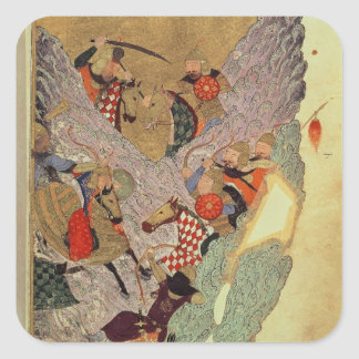 Genghis Khan (c.1162-1227) fighting the Chinese in Square Sticker