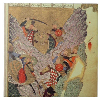 Genghis Khan (c.1162-1227) que lucha a los chinos  Teja Cerámica