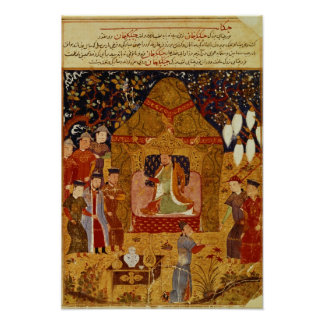 Genghis Khan en su tienda por el al-Dinar de Rashi Posters