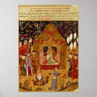 Genghis Khan en su tienda por el al-Dinar de Rashi Póster