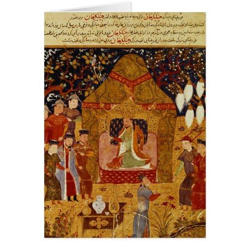Genghis Khan in his tent by Rashid al-Din Greeting Cards