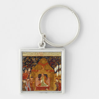 Genghis Khan in his tent by Rashid al-Din Keychains