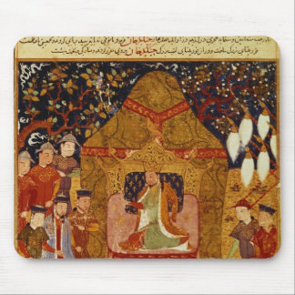 Genghis Khan in his tent by Rashid al-Din Mouse Pad