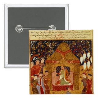 Genghis Khan in his tent by Rashid al-Din Pinback Button