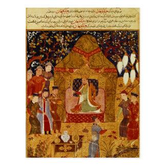 Genghis Khan in his tent by Rashid al-Din Postcard