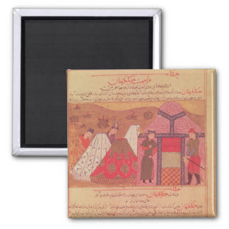 Genghis Khan outside his tent 2 Inch Square Magnet