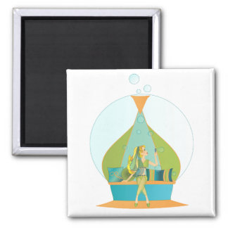 Genie Blowing Bubbles 2 Inch Square Magnet
