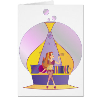 Genie Blowing Bubbles Card