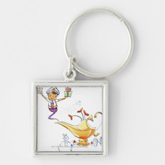 Genie bringing a house and gifts from a magic lamp keychains