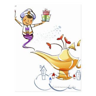 Genie bringing a house and gifts from a magic lamp postcard