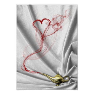 Genie Lamp with Heart Smoke - Poster