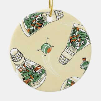 Genimi Space Program Double-Sided Ceramic Round Christmas Ornament