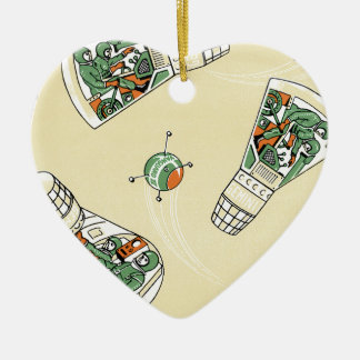 Genimi Space Program Double-Sided Heart Ceramic Christmas Ornament