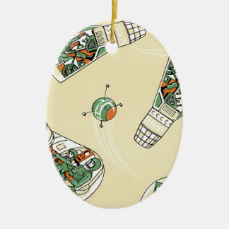 Genimi Space Program Double-Sided Oval Ceramic Christmas Ornament