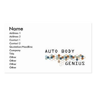 Genio auto del cuerpo tarjetas de visita