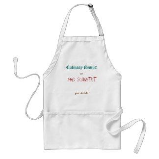 Genio culinario/científico enojado delantal