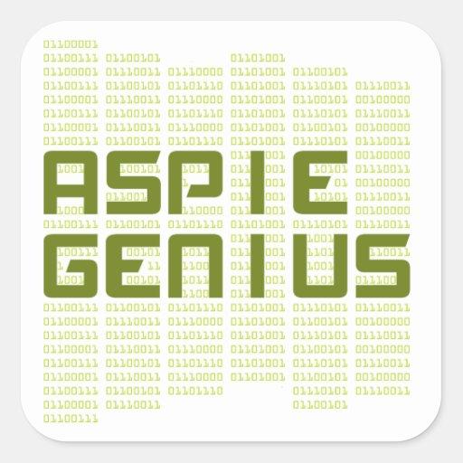 Genio de Aspie - ordenadores Pegatina Cuadrada