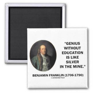 Genio de Benjamin Franklin sin cita de la educació Imán Cuadrado